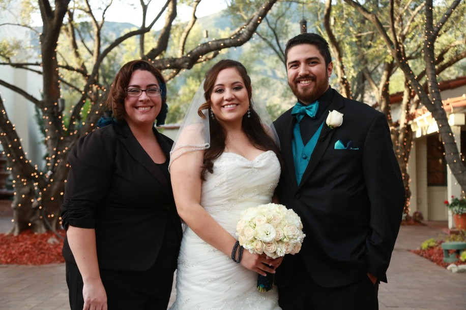 Bride and groom with Minister Marie at Padua Hills Theatre in Claremont